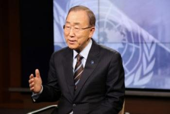 潘基文秘书长接受联合国新闻部的采访 联合国图片