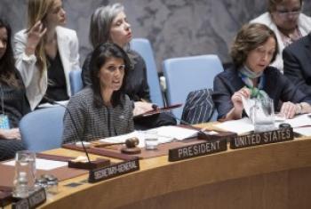 安理会4月轮值主席、美国常驻联合国代表黑莉主持安理会会议。联合国图片