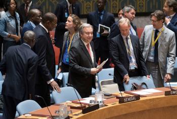 秘书长古特雷斯出席安理会加强非洲和平与安全能力建设公开辩论会。联合国图片/ Mark Garten