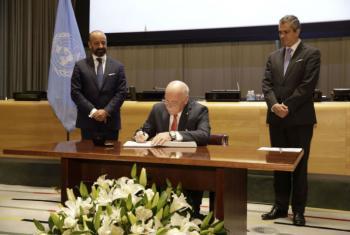 《禁止核武器条约》签署仪式。图片来源:联合国法律事务厅