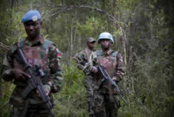 联合国组织驻刚果民主共和国稳定特派团的联合干预部队与刚果民主共和国武装部队的士兵巡逻。联合国图片/ Sylvain Liecht